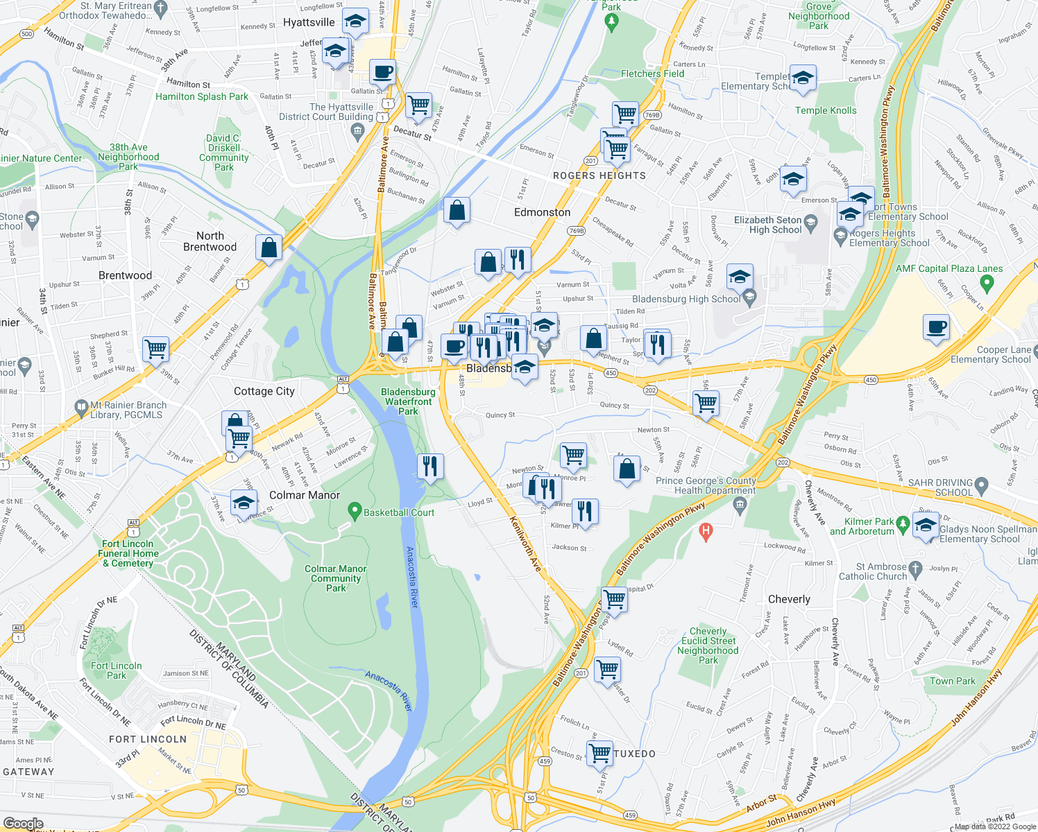 map of restaurants, bars, coffee shops, grocery stores, and more near 5009 Quincy St in Bladensburg