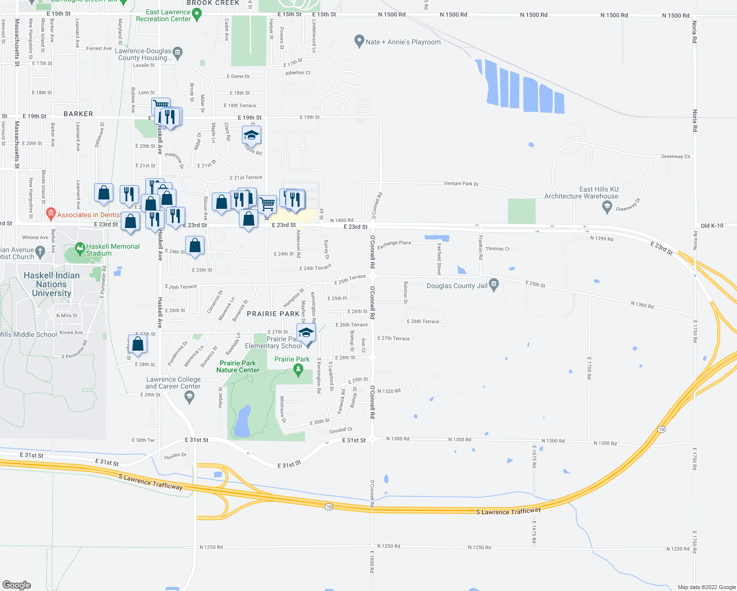 map of restaurants, bars, coffee shops, grocery stores, and more near 2152 E 25th Pl in Lawrence