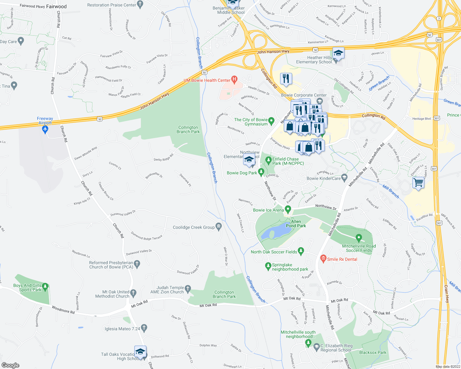 map of restaurants, bars, coffee shops, grocery stores, and more near 14939 Nashua Lane in Bowie