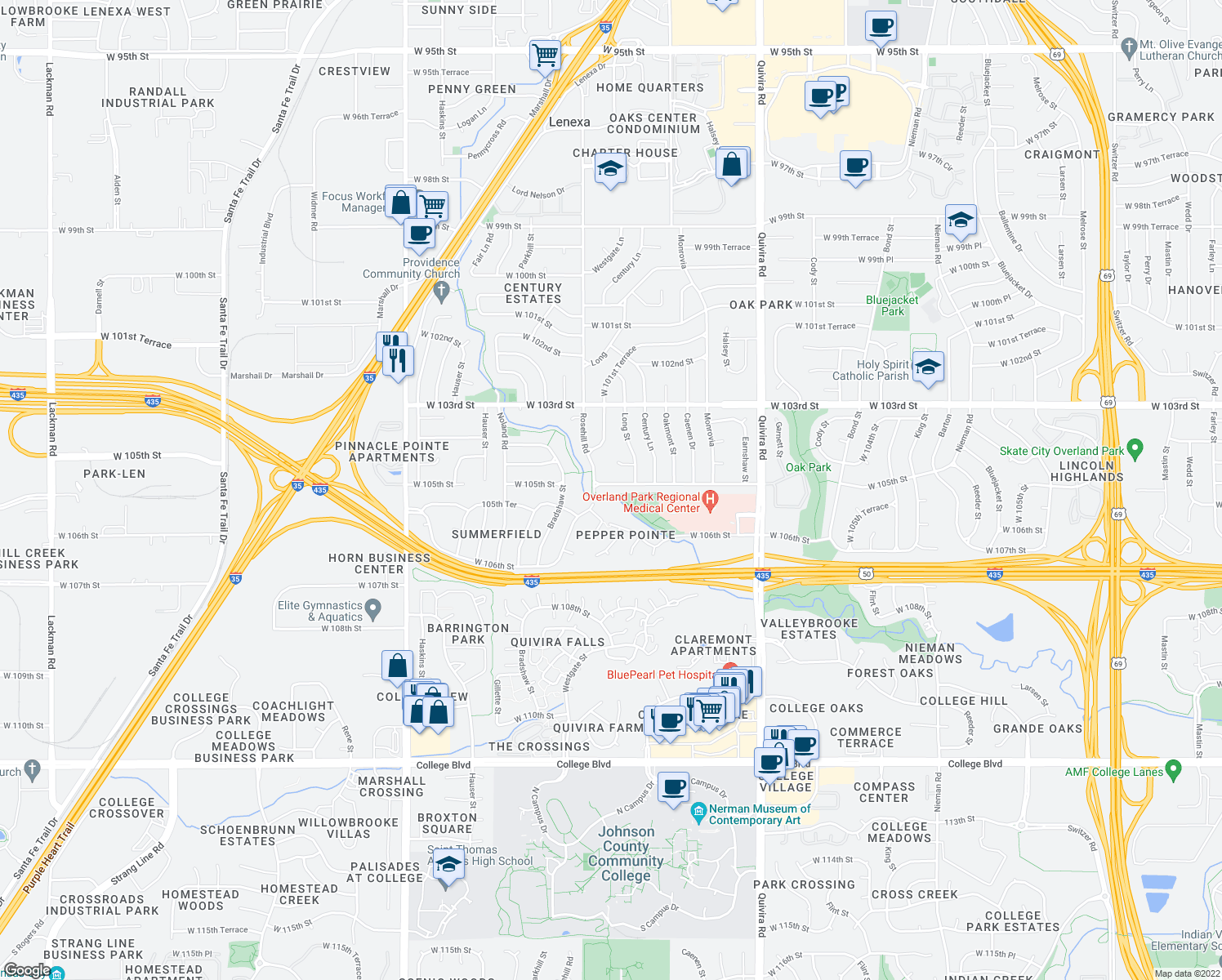 map of restaurants, bars, coffee shops, grocery stores, and more near 12659 West 105th Street in Lenexa