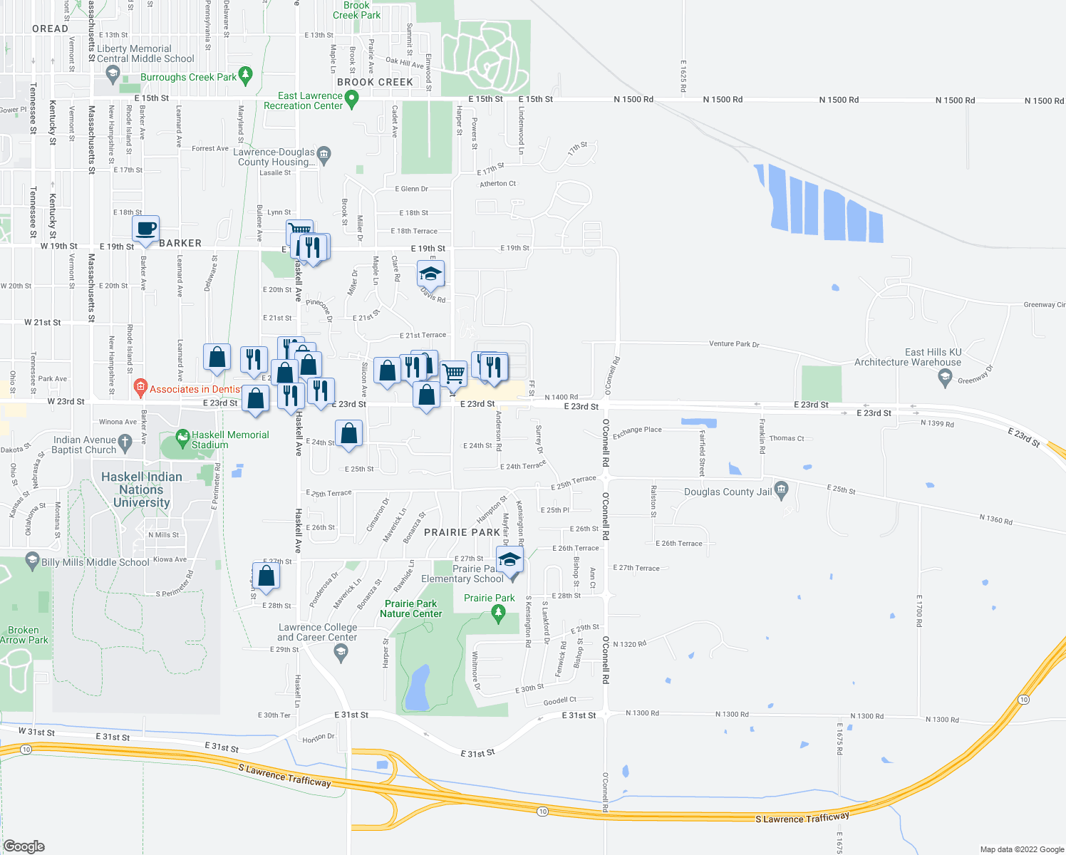 map of restaurants, bars, coffee shops, grocery stores, and more near 2325 Surrey Drive in Lawrence