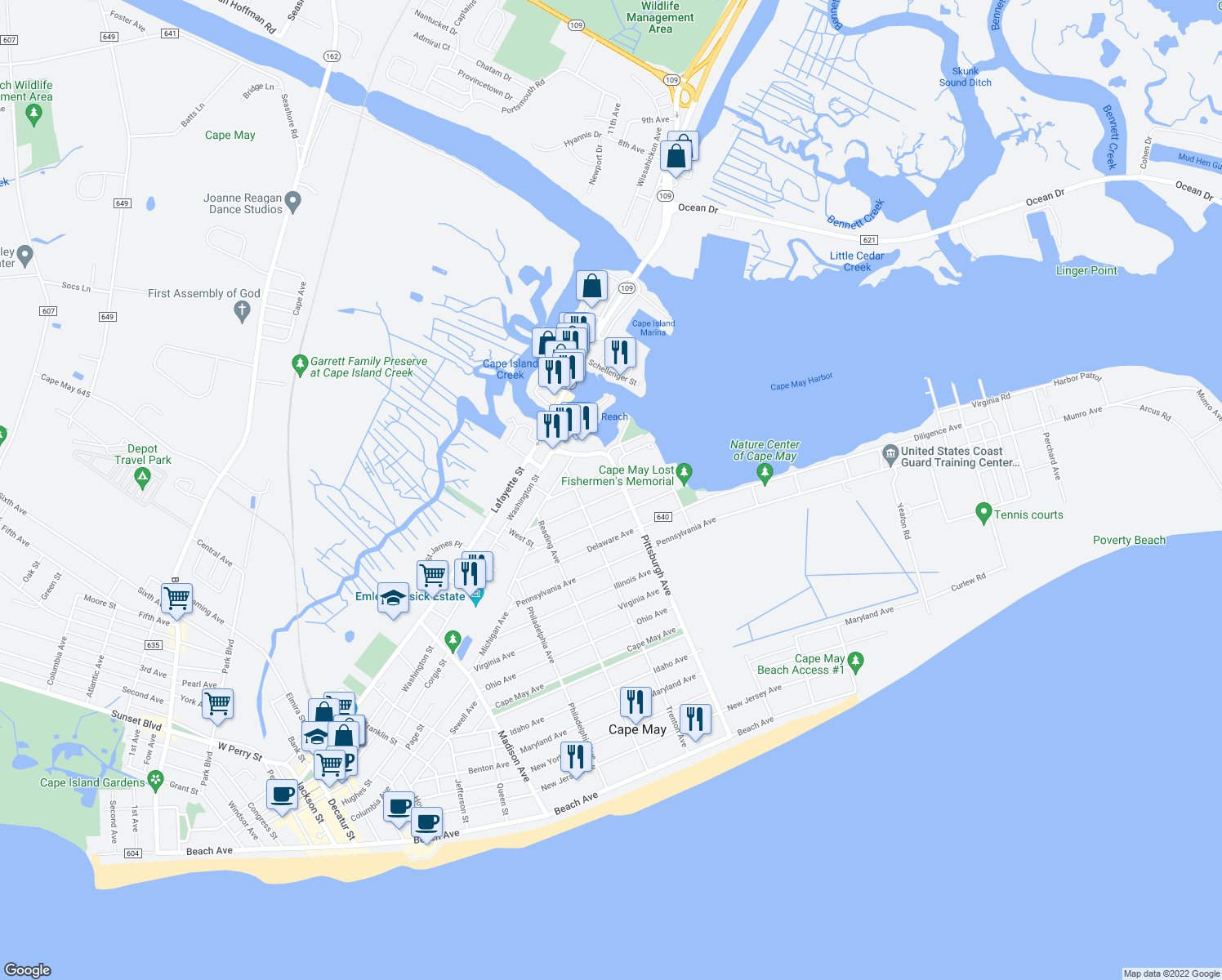 map of restaurants, bars, coffee shops, grocery stores, and more near 1351 Vermont Avenue in Cape May