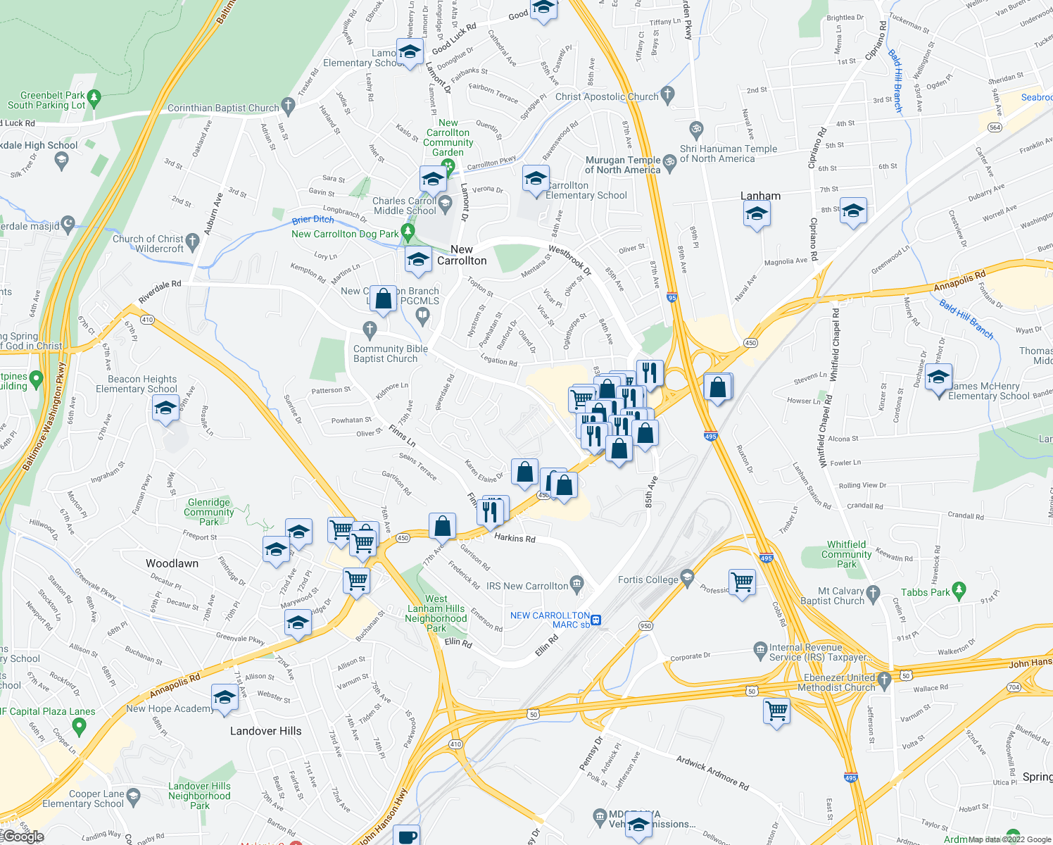 map of restaurants, bars, coffee shops, grocery stores, and more near 7845 Riverdale Road in New Carrollton