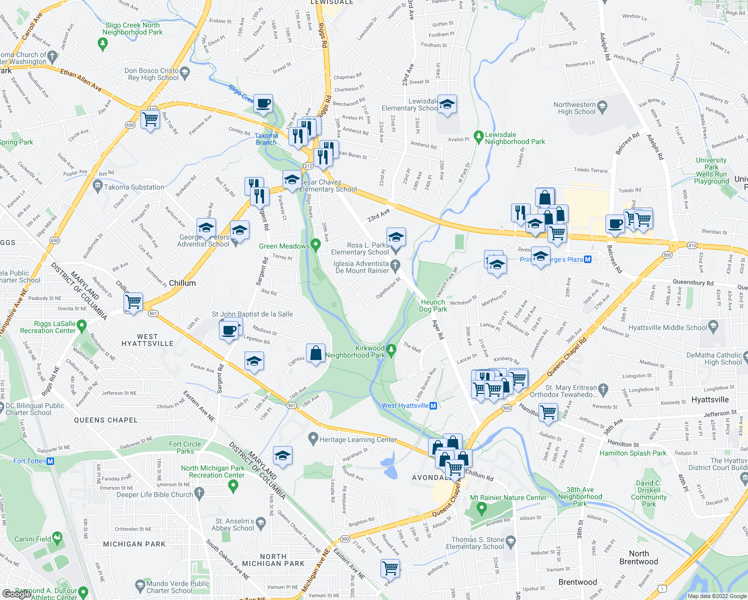 map of restaurants, bars, coffee shops, grocery stores, and more near 2001 Oglethorpe Street in Chillum