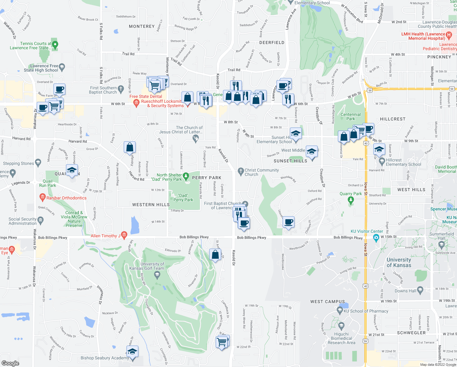 map of restaurants, bars, coffee shops, grocery stores, and more near 3408 Richard Ct in Lawrence