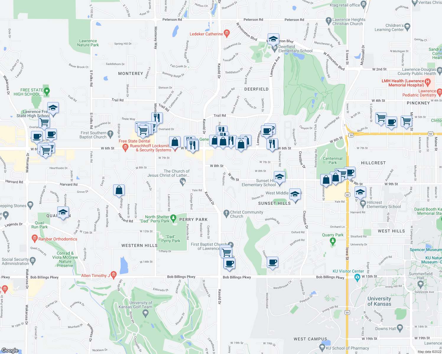 map of restaurants, bars, coffee shops, grocery stores, and more near 909 Holiday Drive in Lawrence