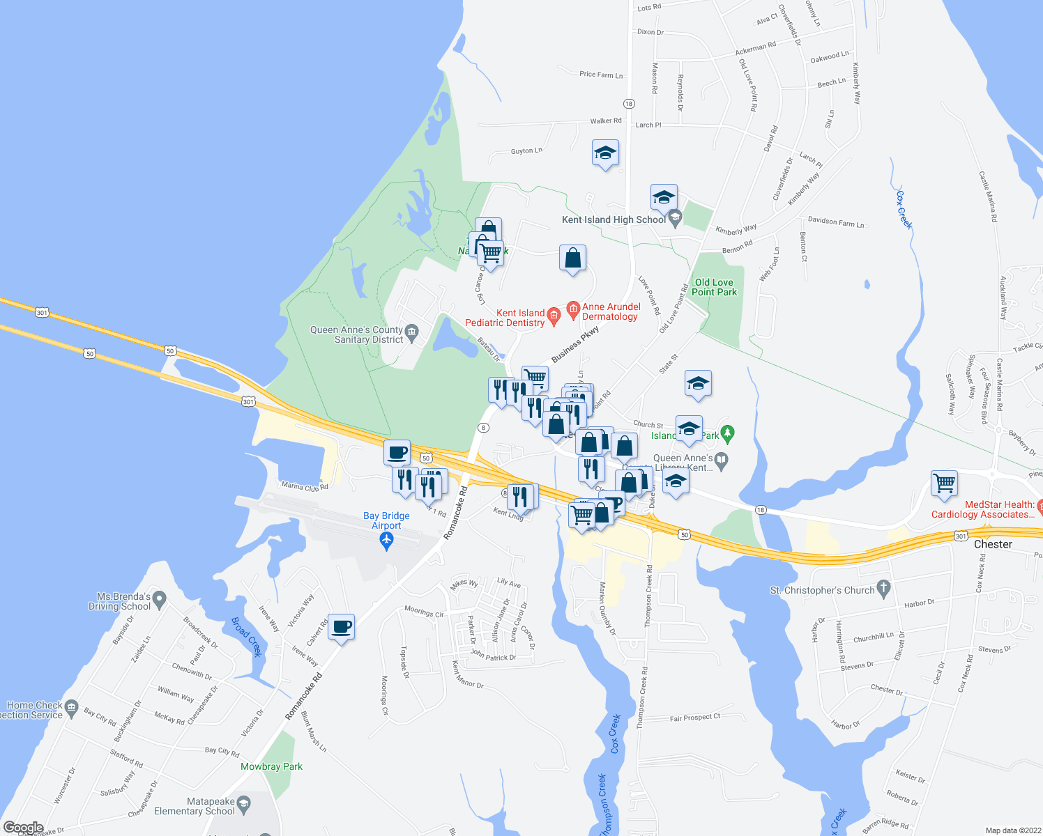 map of restaurants, bars, coffee shops, grocery stores, and more near 100 Saint Claire Place in Stevensville