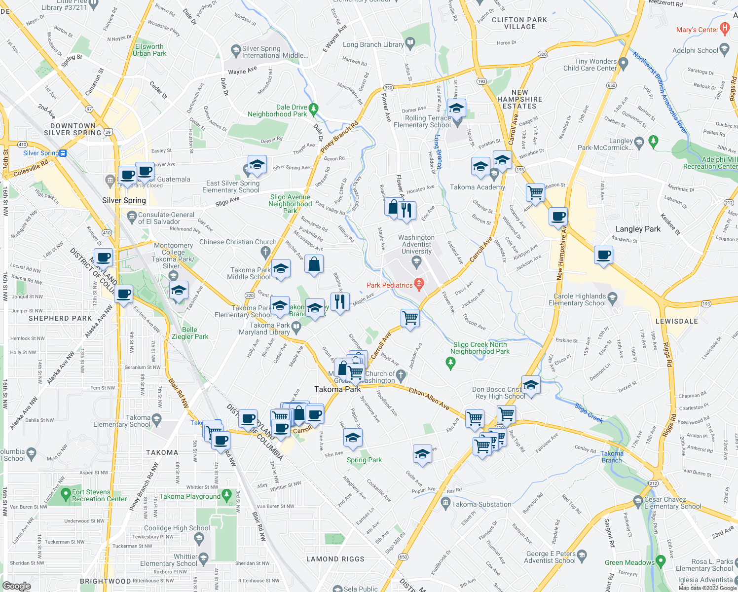 map of restaurants, bars, coffee shops, grocery stores, and more near 7667 Lincoln Avenue in Takoma Park