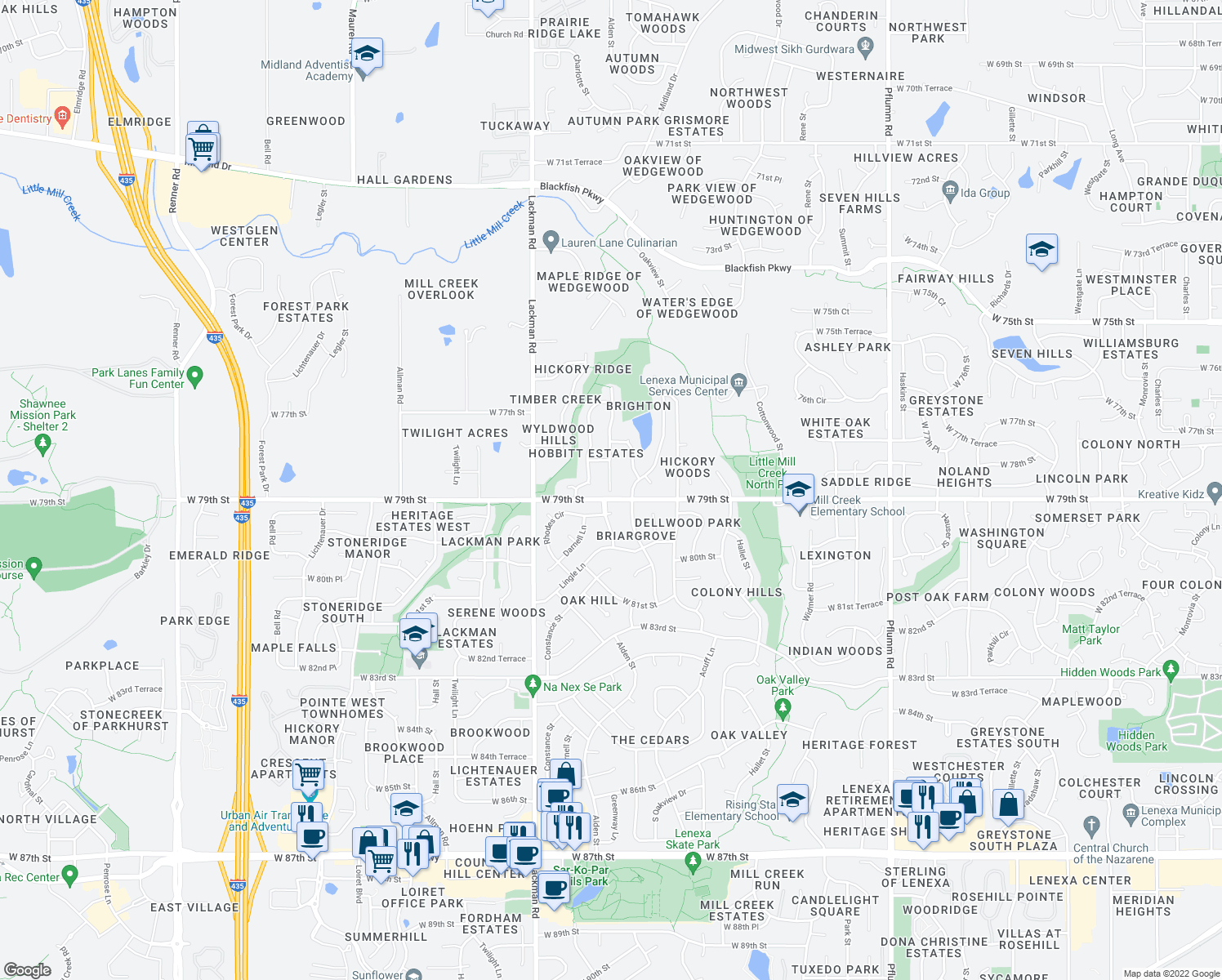 map of restaurants, bars, coffee shops, grocery stores, and more near 7847 Alden Rd in Lenexa