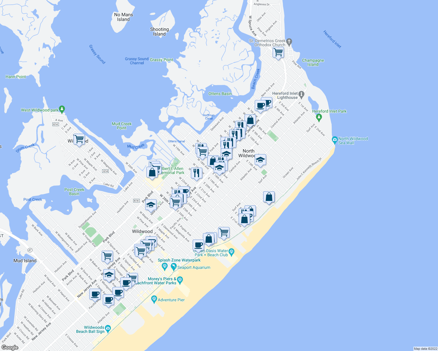 map of restaurants, bars, coffee shops, grocery stores, and more near 118 East 17th Avenue in North Wildwood