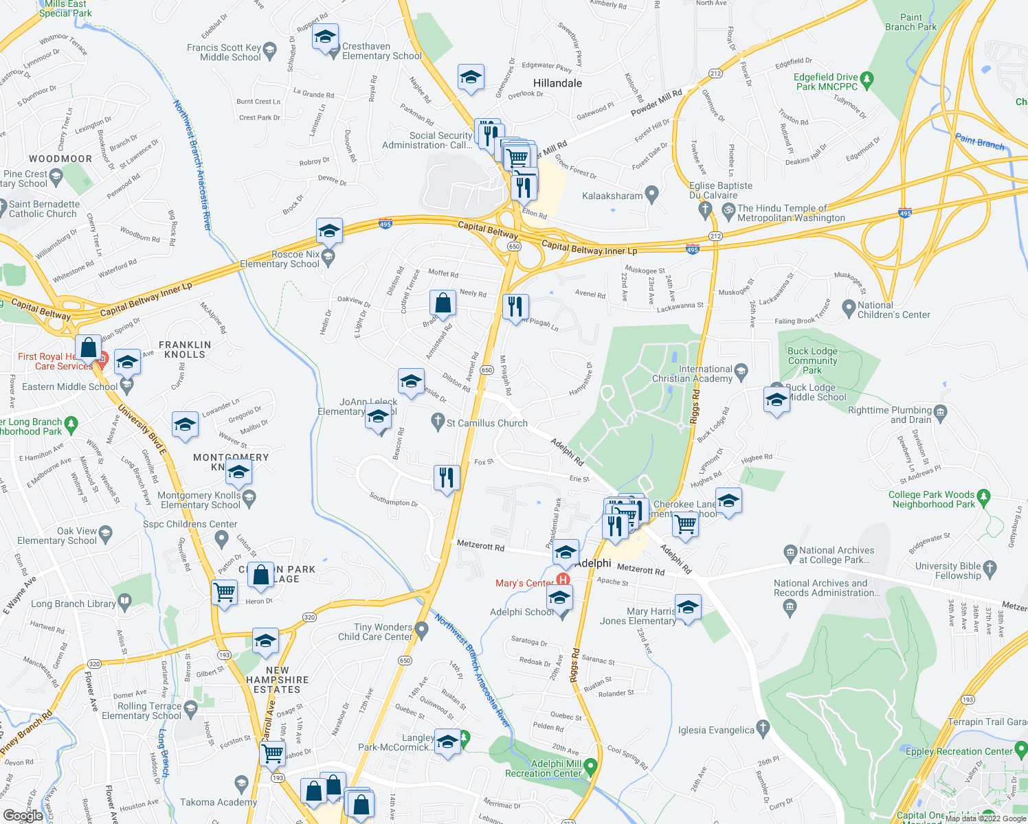 map of restaurants, bars, coffee shops, grocery stores, and more near 9422 Adelphi Road in Hyattsville