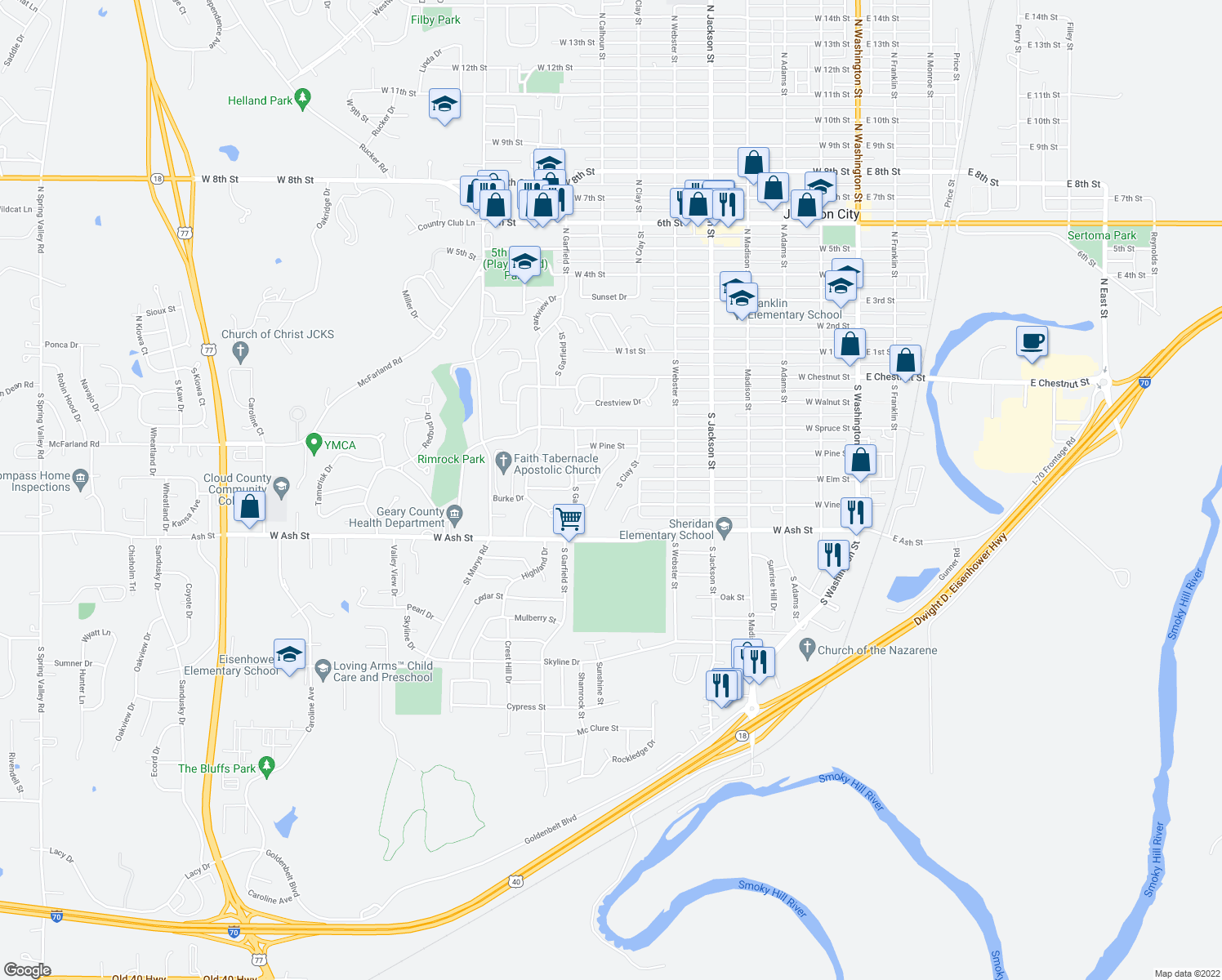 map of restaurants, bars, coffee shops, grocery stores, and more near 808 South Clay Street in Junction City
