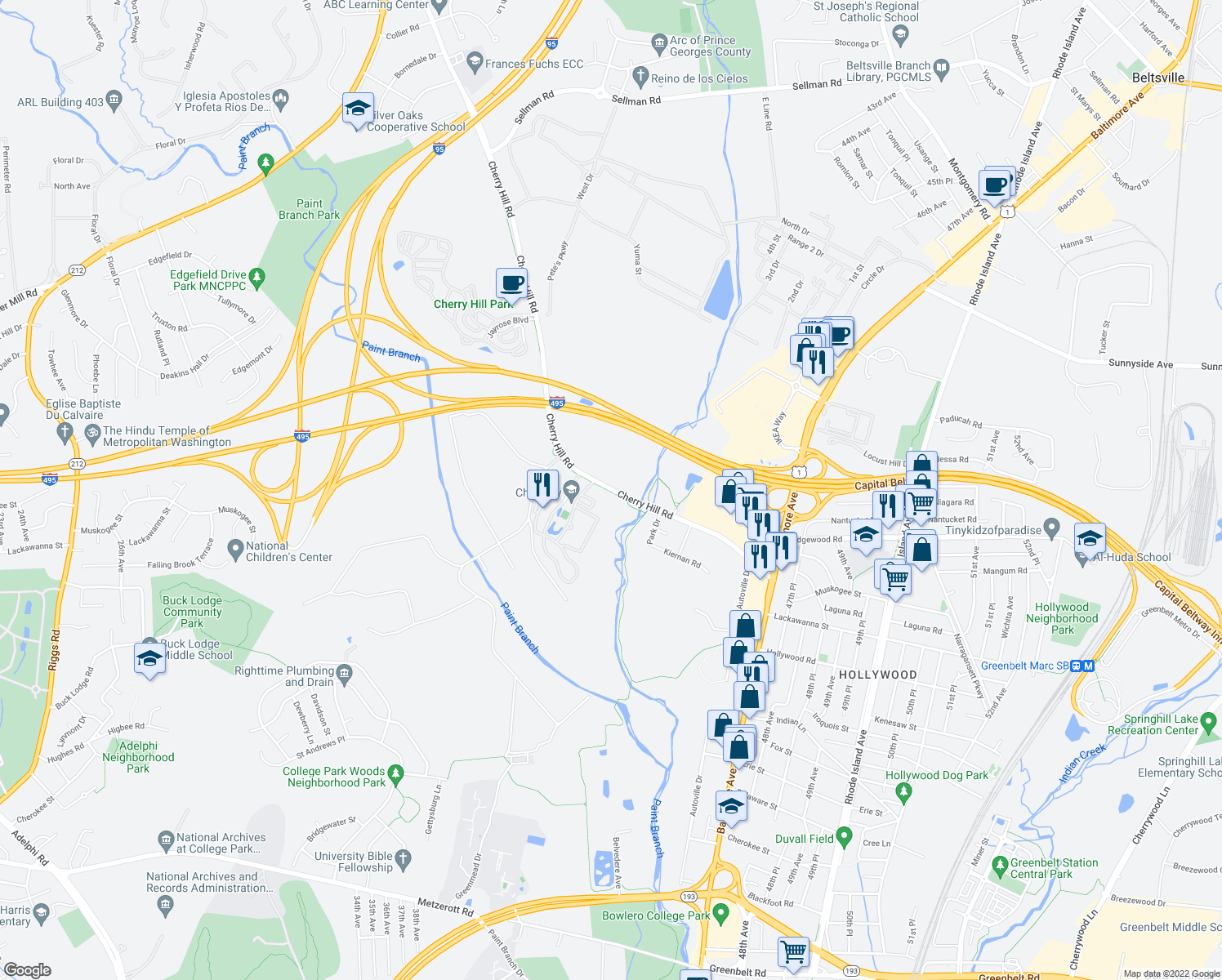 map of restaurants, bars, coffee shops, grocery stores, and more near 9386-9416 Cherry Hill Road in College Park