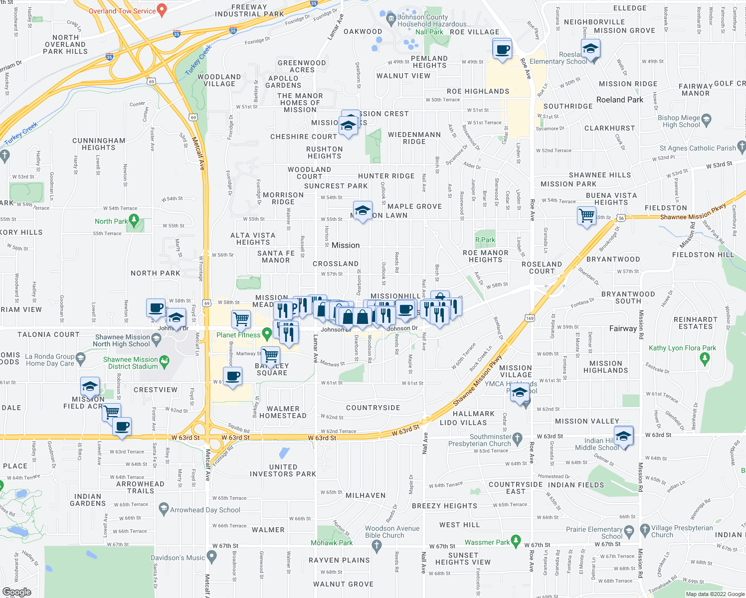 map of restaurants, bars, coffee shops, grocery stores, and more near 5884 West 58th Street in Mission