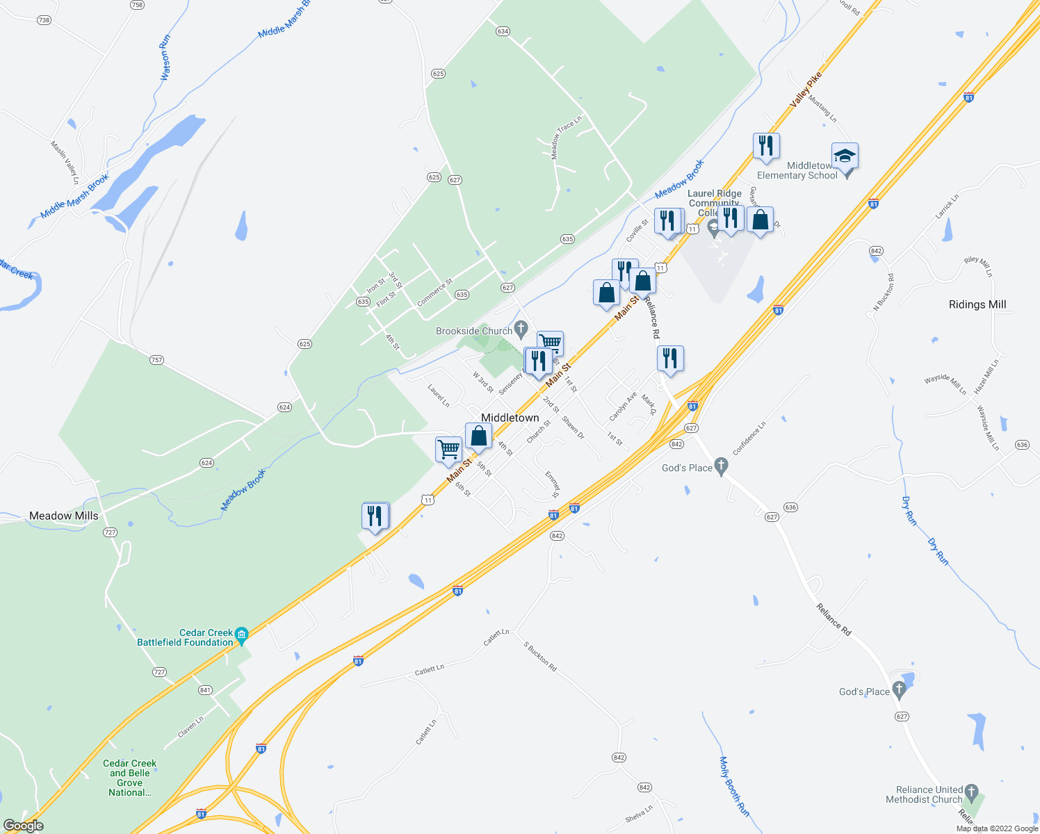 map of restaurants, bars, coffee shops, grocery stores, and more near in Middletown