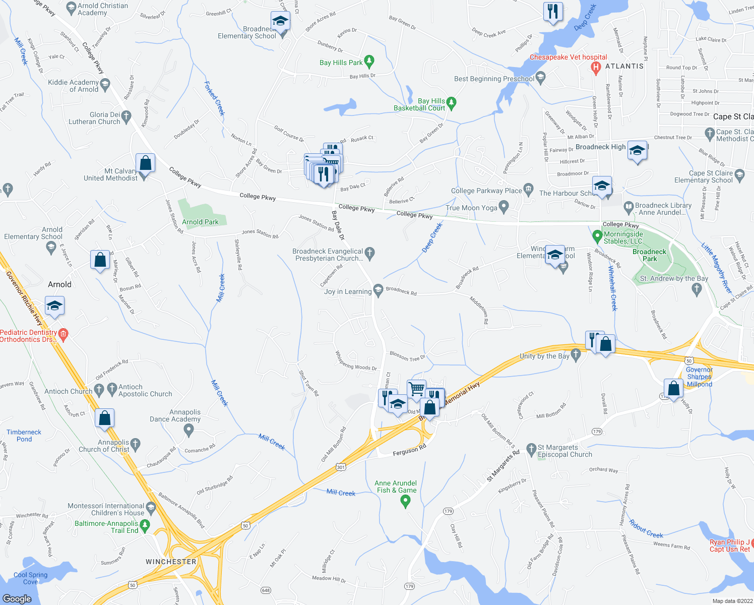 map of restaurants, bars, coffee shops, grocery stores, and more near 221 Bay Dale Drive in Annapolis