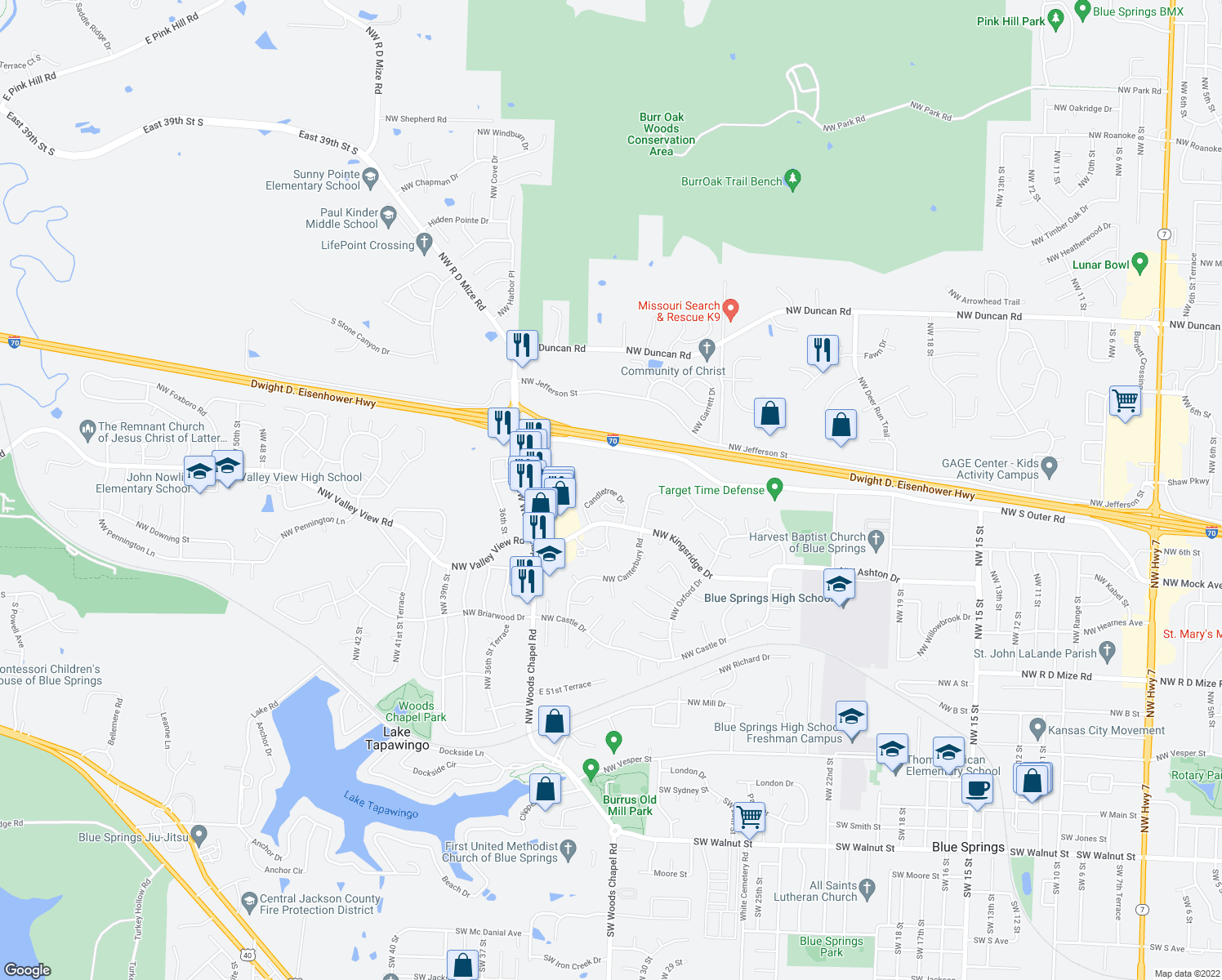 map of restaurants, bars, coffee shops, grocery stores, and more near Candletree Drive in Blue Springs