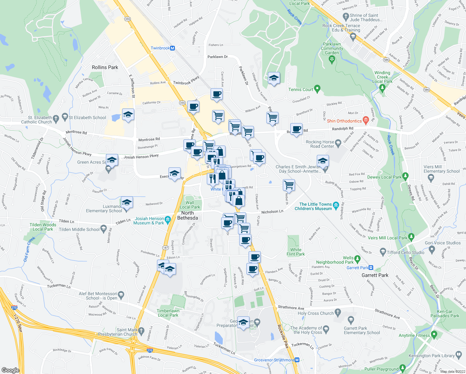 map of restaurants, bars, coffee shops, grocery stores, and more near 5500 Marinelli Road in Rockville