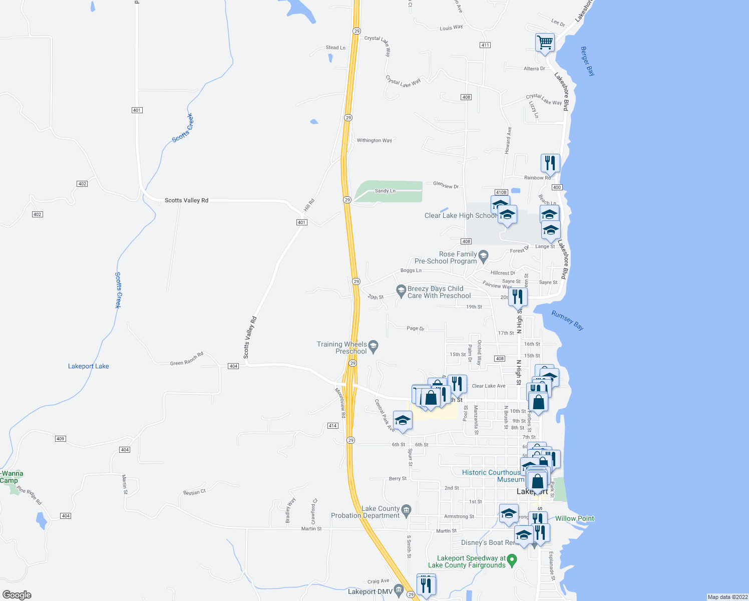 map of restaurants, bars, coffee shops, grocery stores, and more near 1423 20th Street in Lakeport
