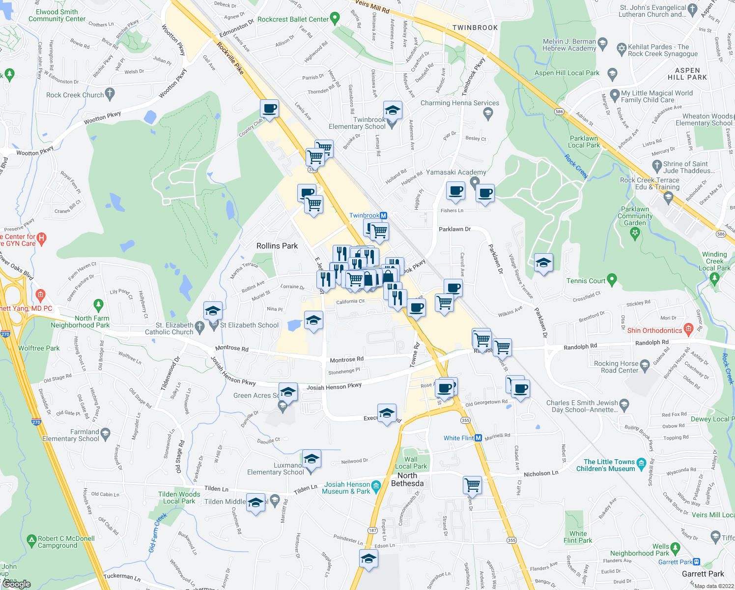 map of restaurants, bars, coffee shops, grocery stores, and more near 12268 Rockville Pike in Rockville