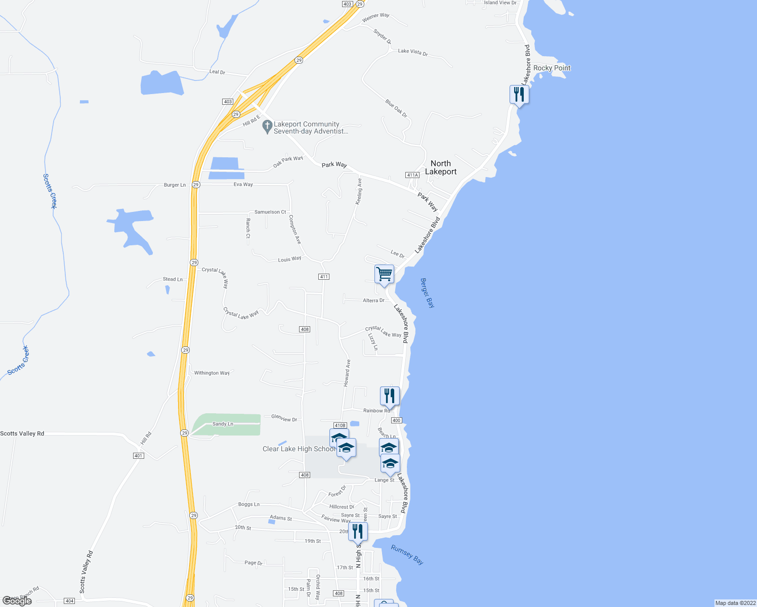 map of restaurants, bars, coffee shops, grocery stores, and more near 238 Alterra Drive in Lakeport