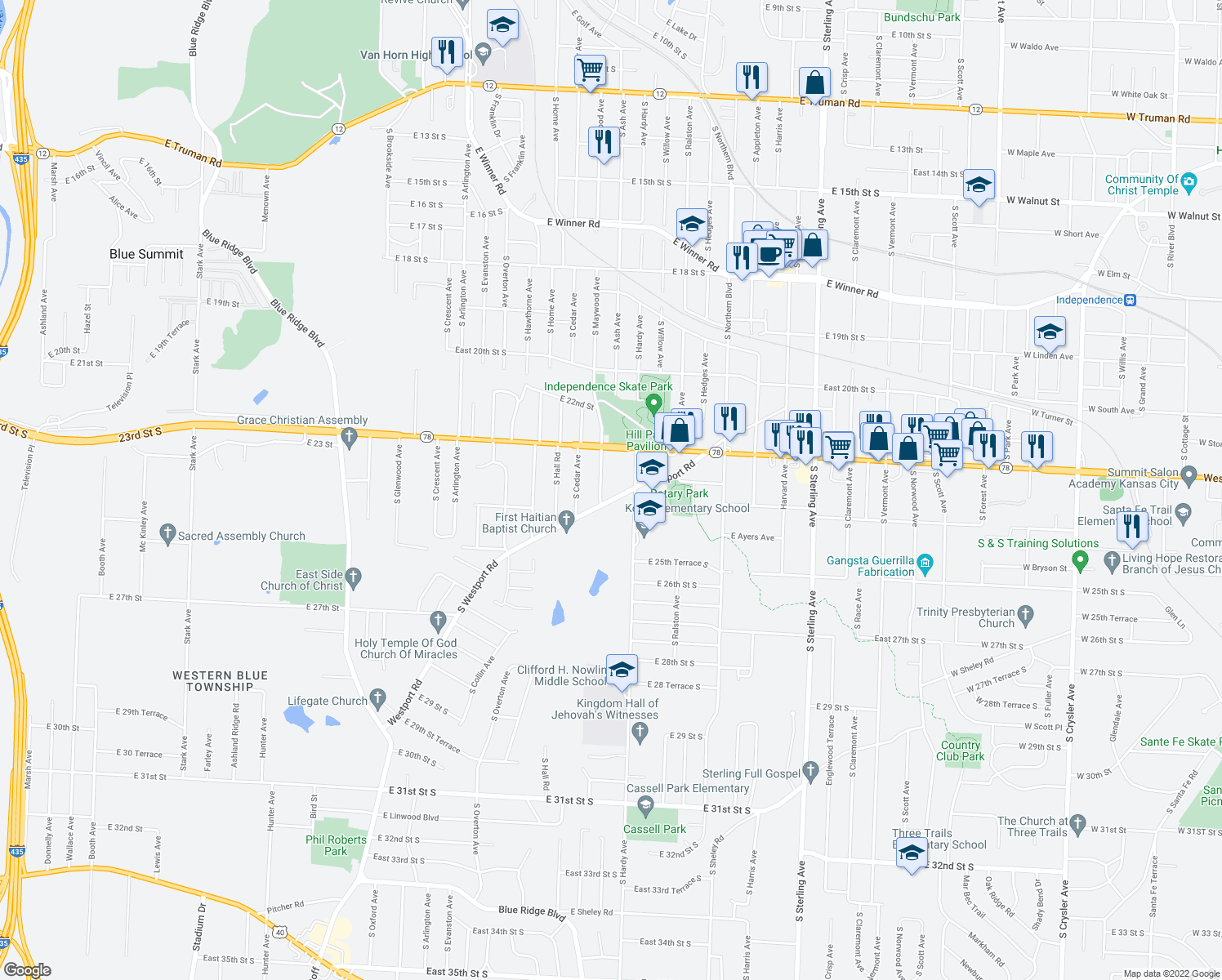 map of restaurants, bars, coffee shops, grocery stores, and more near 2327 S Maywood Ave in Independence