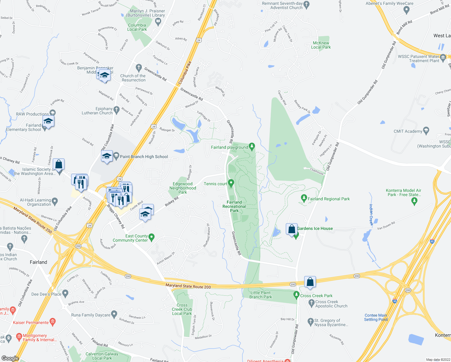 map of restaurants, bars, coffee shops, grocery stores, and more near 3925 Greencastle Road in Burtonsville