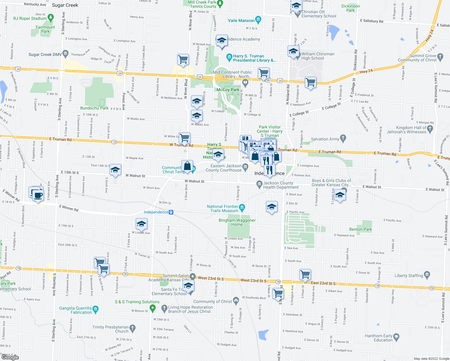 map of restaurants, bars, coffee shops, grocery stores, and more near 501-715 West Walnut Street in Independence