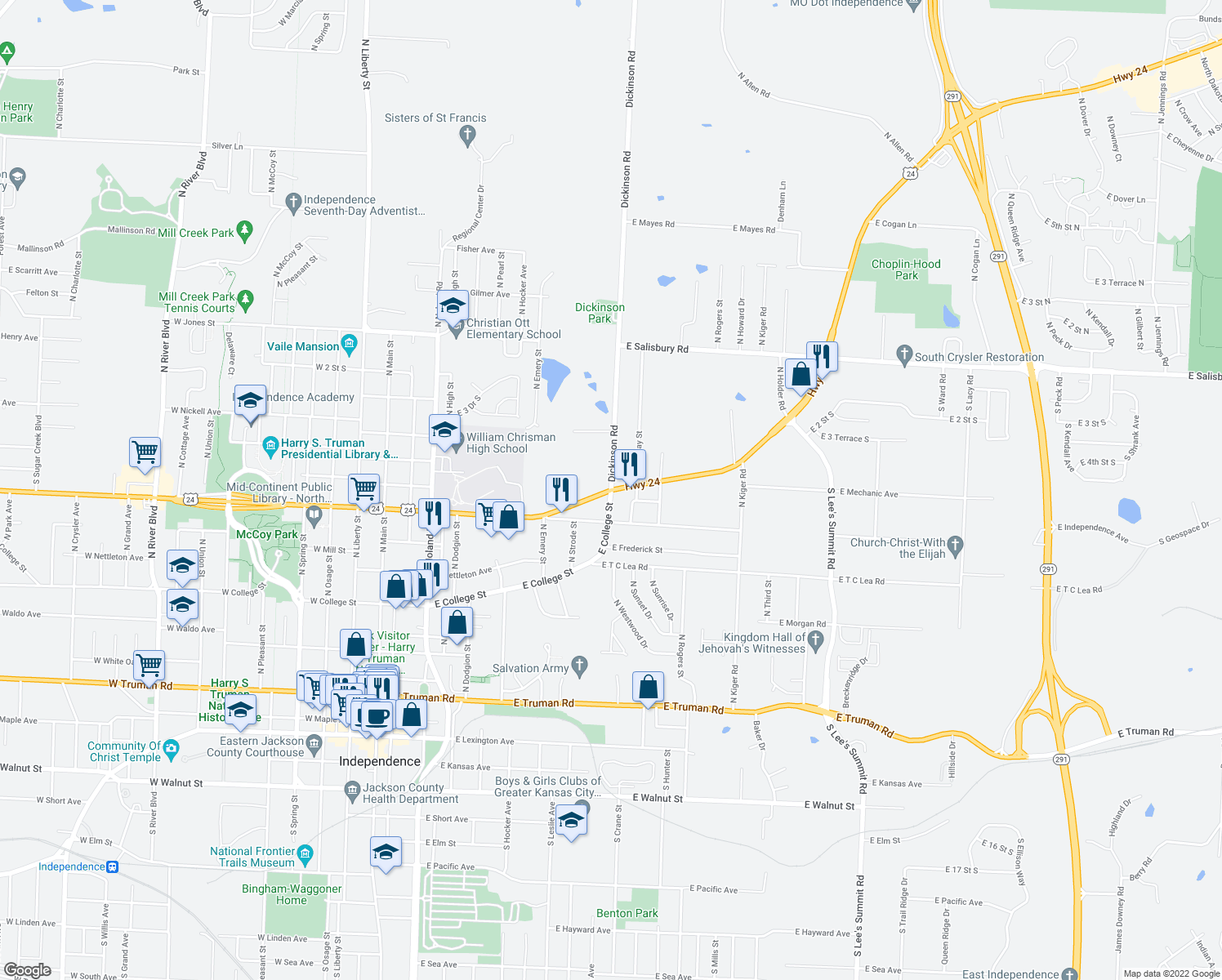 map of restaurants, bars, coffee shops, grocery stores, and more near U.S. Route 24 in Illinois & E College St in Independence