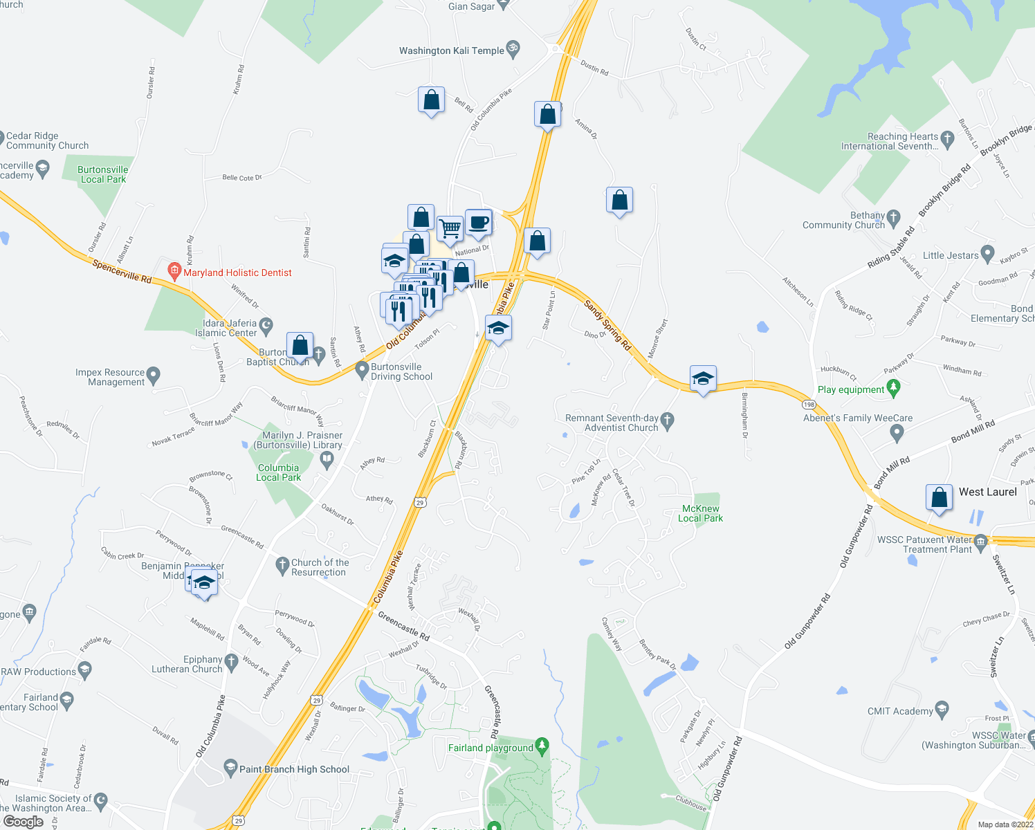 map of restaurants, bars, coffee shops, grocery stores, and more near 3918 Blackburn Lane in Burtonsville