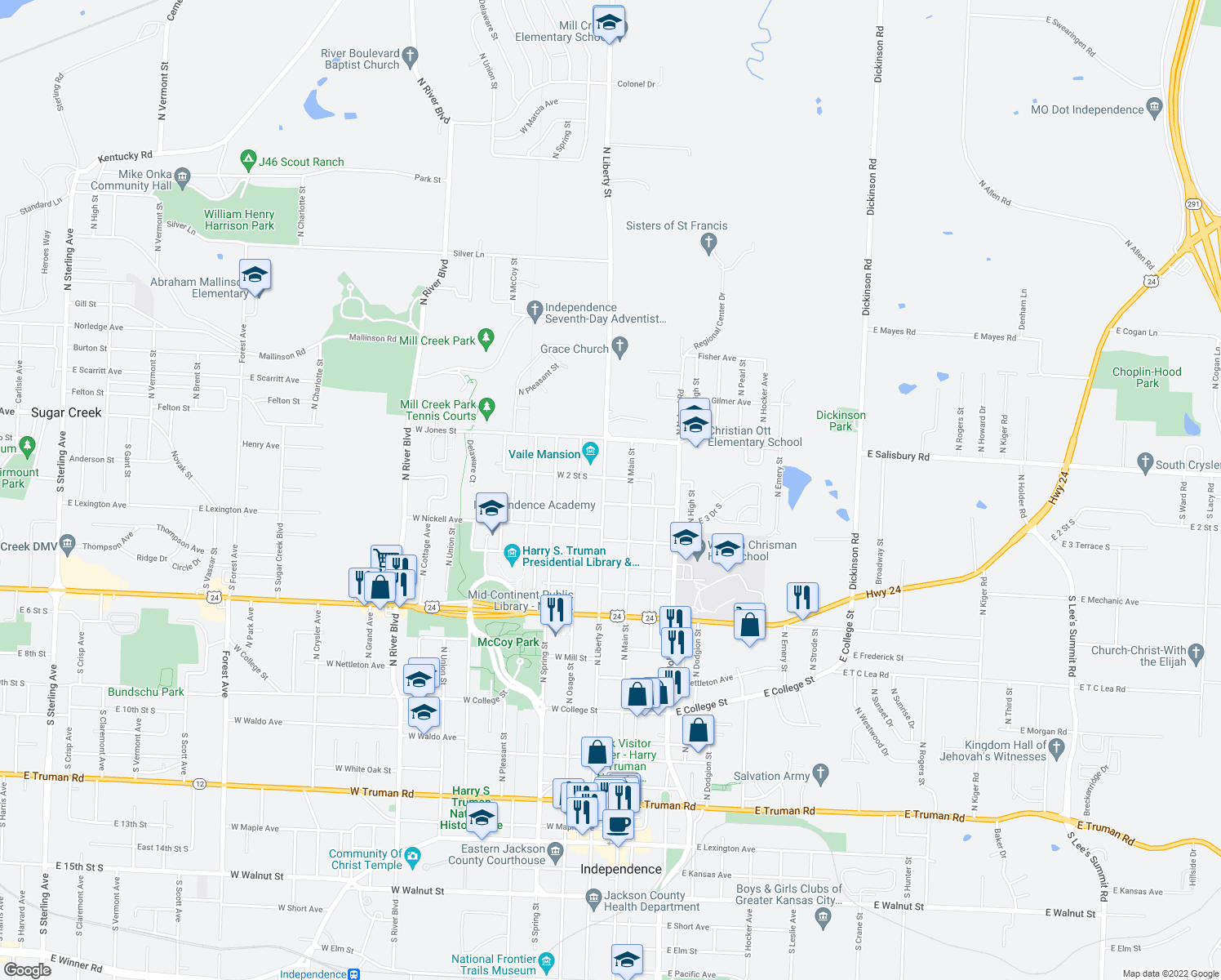 map of restaurants, bars, coffee shops, grocery stores, and more near 1411 North Liberty Street in Independence