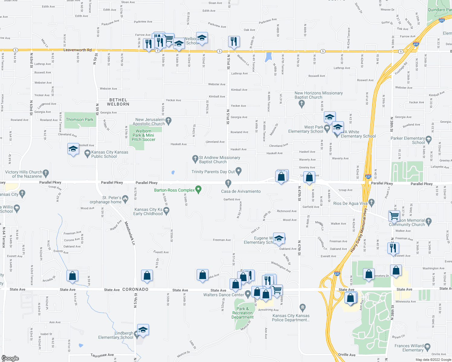 map of restaurants, bars, coffee shops, grocery stores, and more near 5100 Parallel Parkway in Kansas City