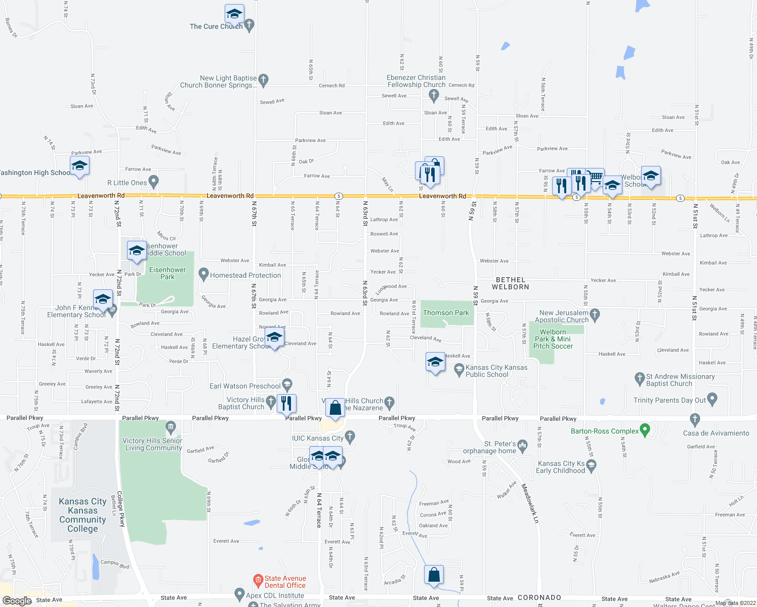 map of restaurants, bars, coffee shops, grocery stores, and more near 6221 Georgia Avenue in Kansas City