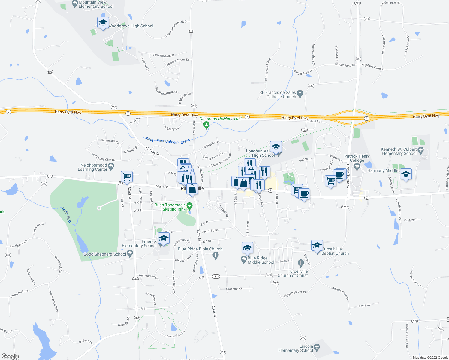 map of restaurants, bars, coffee shops, grocery stores, and more near 110 North 16th Street in Purcellville