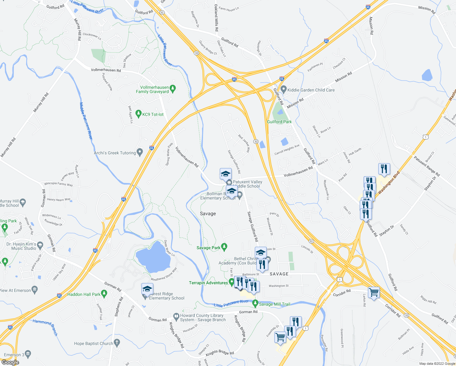 map of restaurants, bars, coffee shops, grocery stores, and more near 9130 Vollmerhausen Road in Jessup