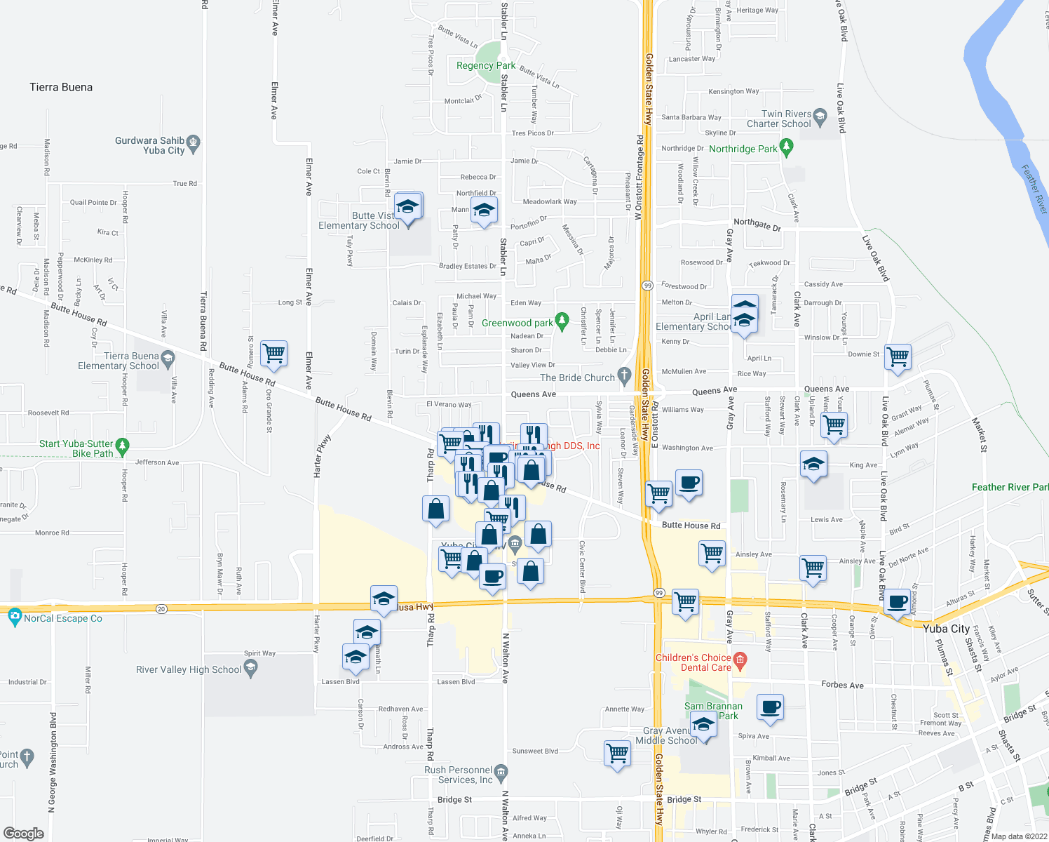 map of restaurants, bars, coffee shops, grocery stores, and more near 1575 Heather Drive in Yuba City