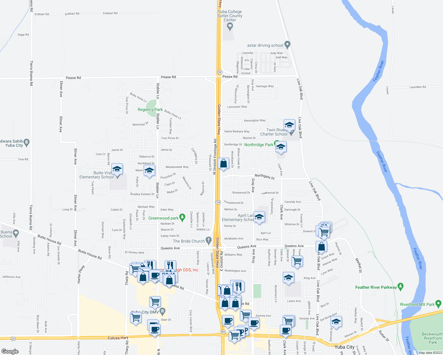 map of restaurants, bars, coffee shops, grocery stores, and more near East Onstott Road & Northgate Drive in Yuba City