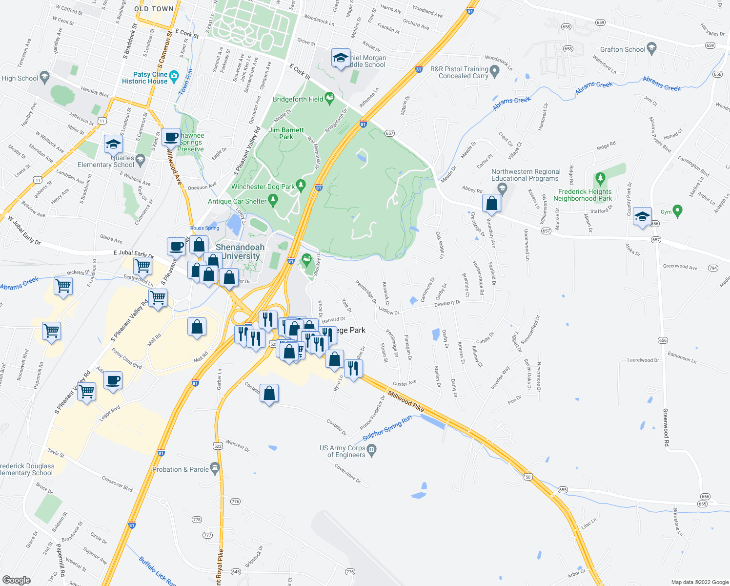 map of restaurants, bars, coffee shops, grocery stores, and more near 205 Pembridge Drive in Winchester