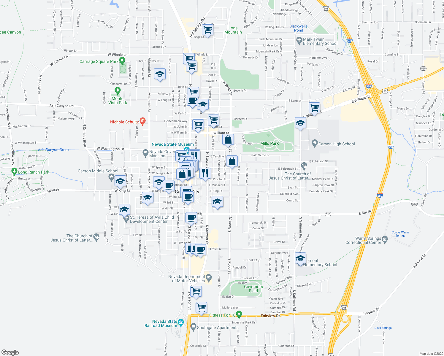 map of restaurants, bars, coffee shops, grocery stores, and more near 610 E Proctor St in Carson City