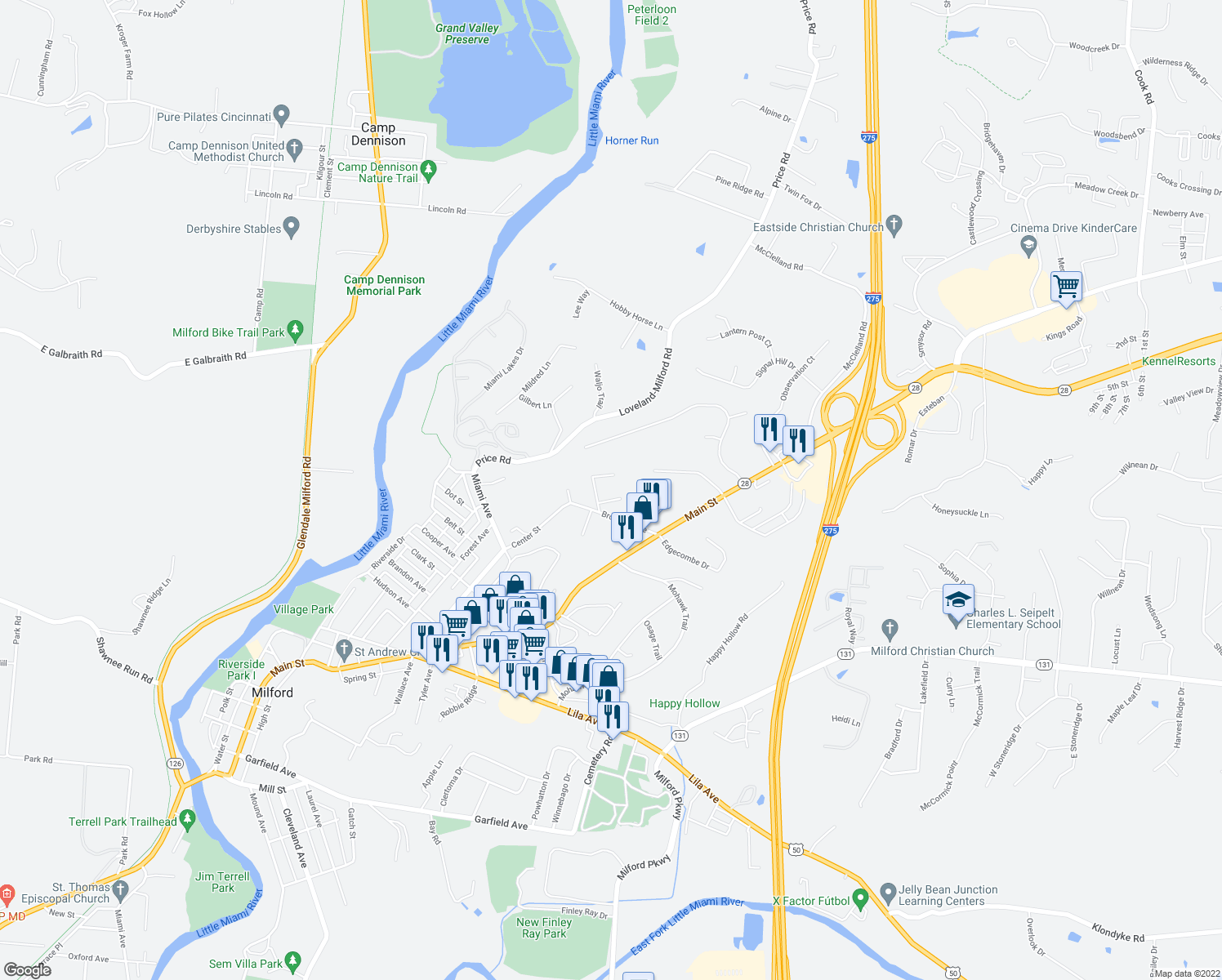 map of restaurants, bars, coffee shops, grocery stores, and more near 44 Concord Woods Drive in Milford