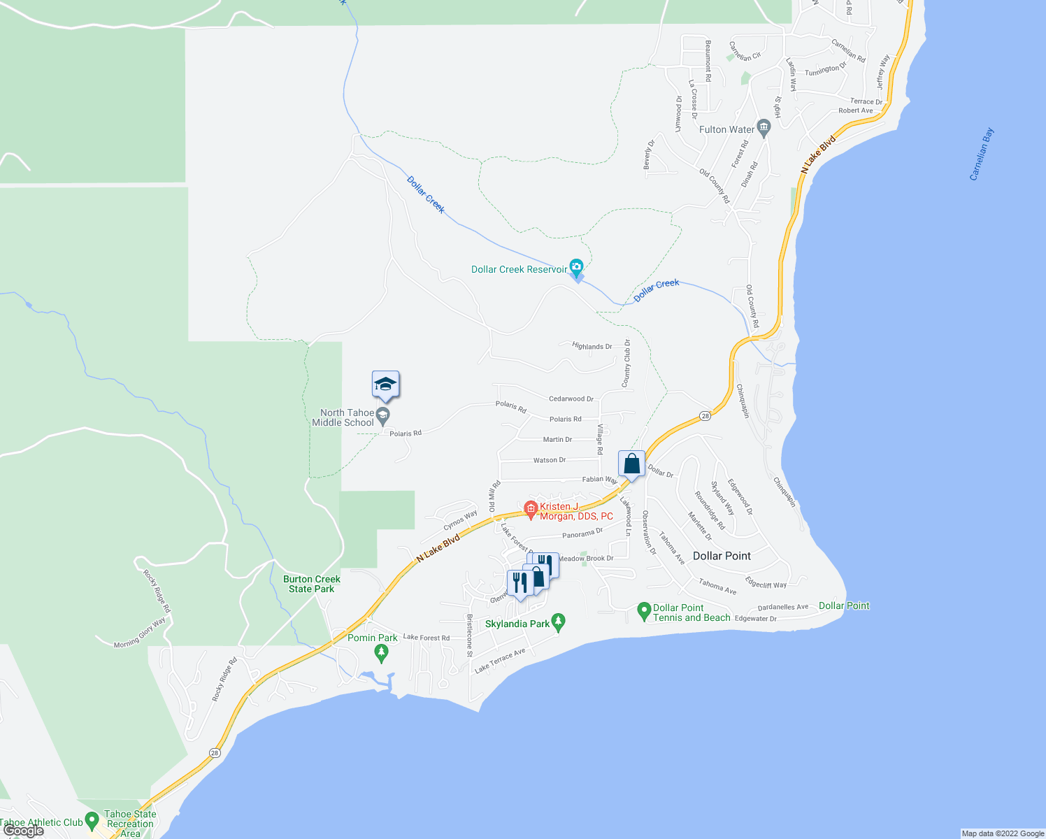 map of restaurants, bars, coffee shops, grocery stores, and more near 3120 Polaris Road in Tahoe City