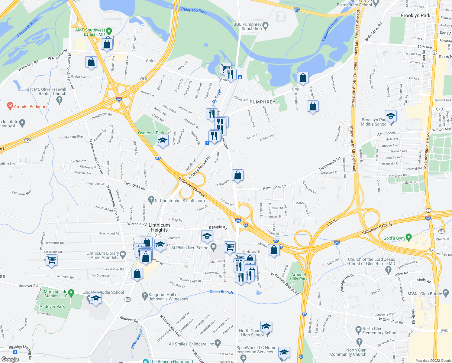 map of restaurants, bars, coffee shops, grocery stores, and more near 418 Hillview Drive in Linthicum Heights