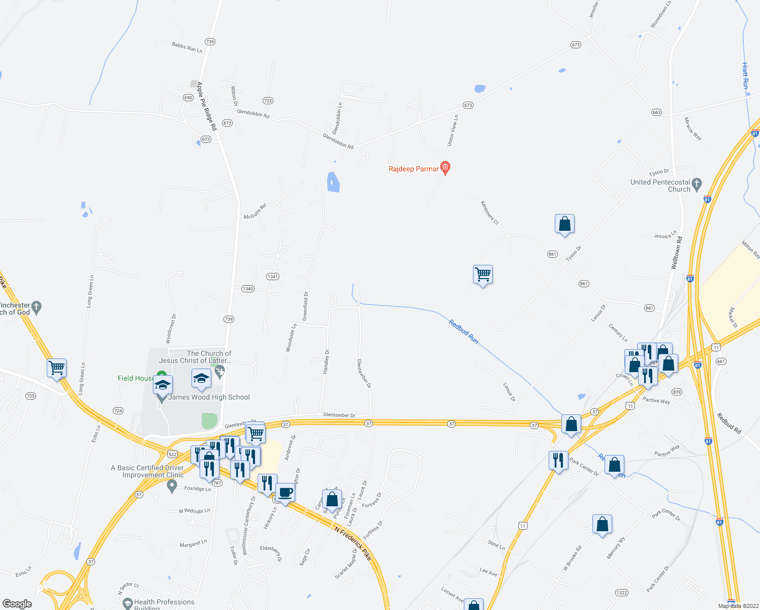 map of restaurants, bars, coffee shops, grocery stores, and more near 330 Handley Drive in Winchester