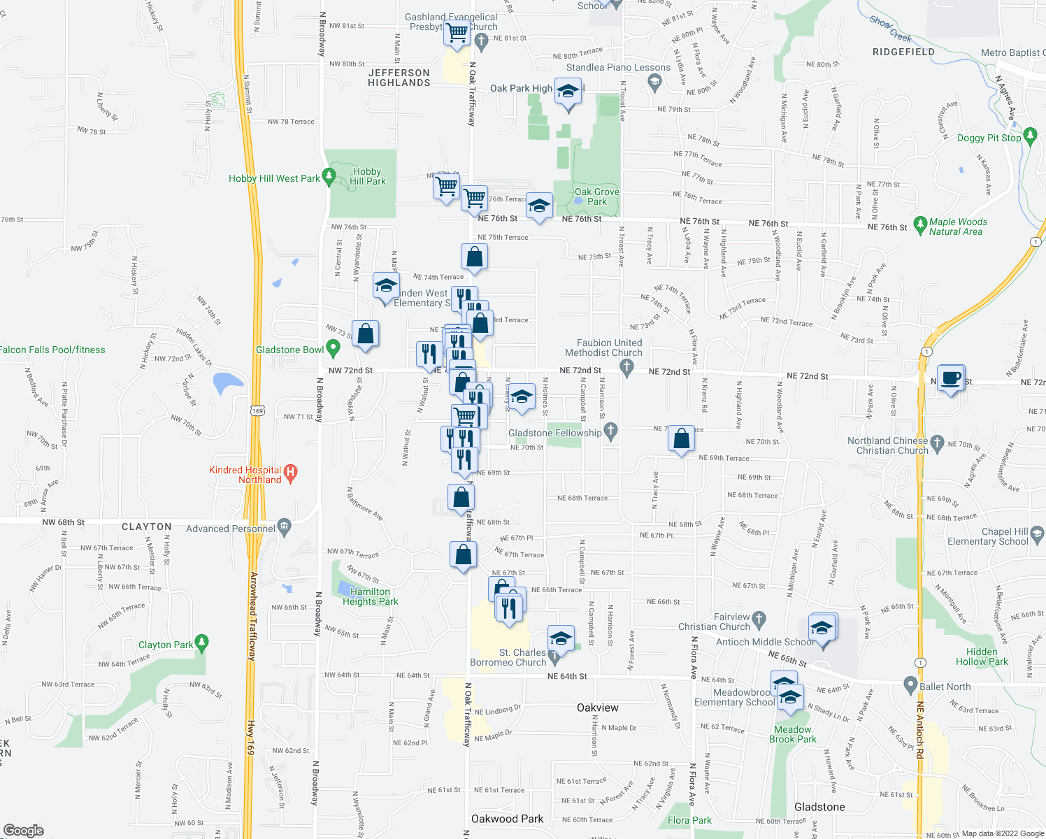 map of restaurants, bars, coffee shops, grocery stores, and more near 7001-7013 North Cherry Street in Gladstone