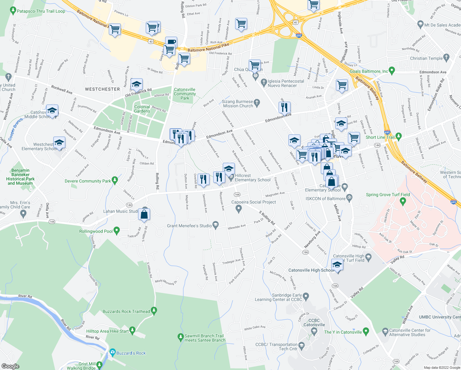 map of restaurants, bars, coffee shops, grocery stores, and more near 2-4 South Rolling Road in Catonsville