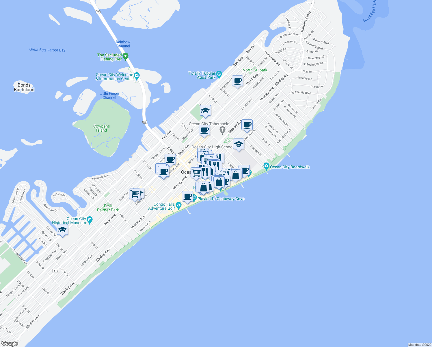 map of restaurants, bars, coffee shops, grocery stores, and more near 807 East 8th Street in Ocean City