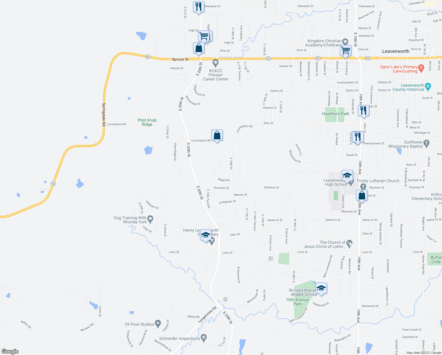 map of restaurants, bars, coffee shops, grocery stores, and more near 1824 Ridge Road in Leavenworth