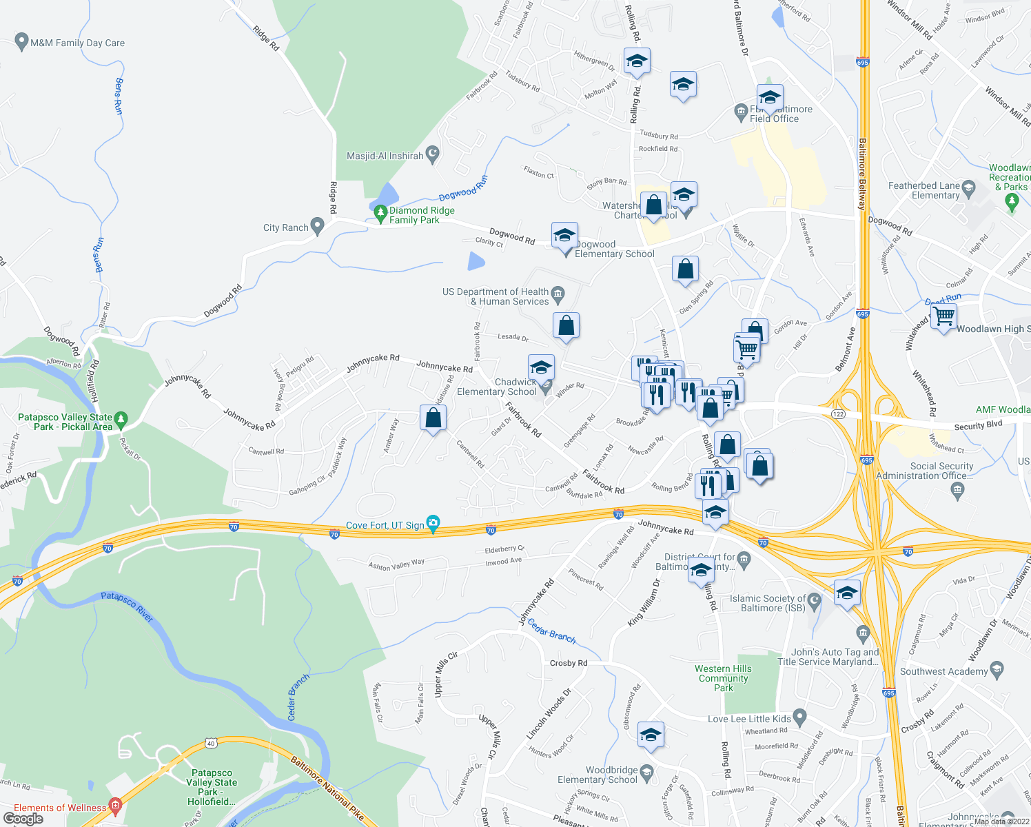 map of restaurants, bars, coffee shops, grocery stores, and more near 1-3 Giard Drive in Woodlawn