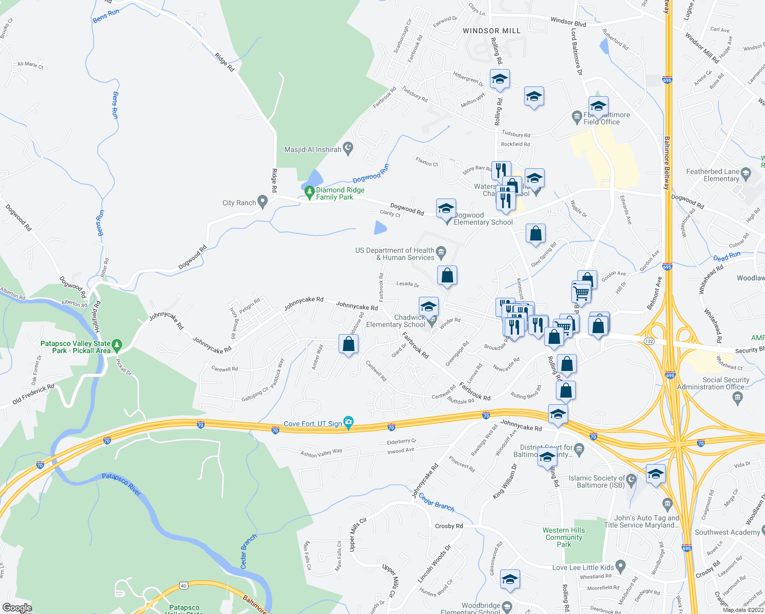 map of restaurants, bars, coffee shops, grocery stores, and more near 7402 Fairbrook Rd in Woodlawn