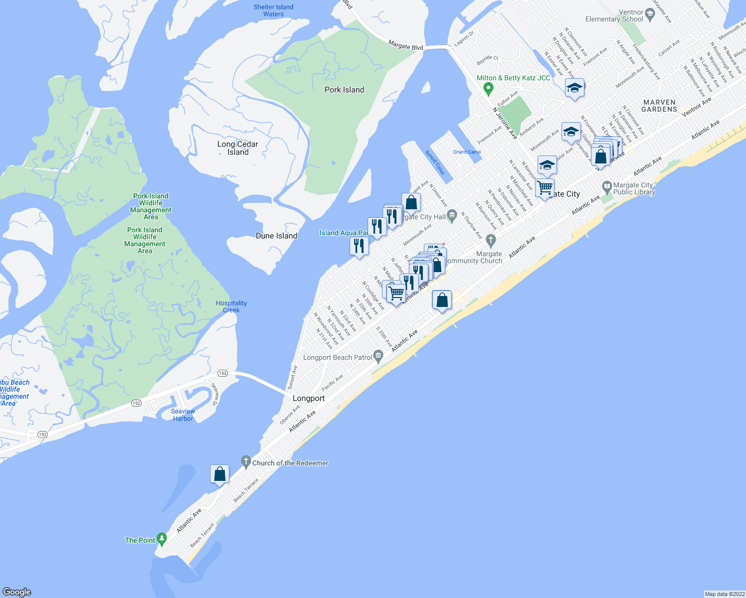 map of restaurants, bars, coffee shops, grocery stores, and more near 28-30 North Coolidge Avenue in Margate City